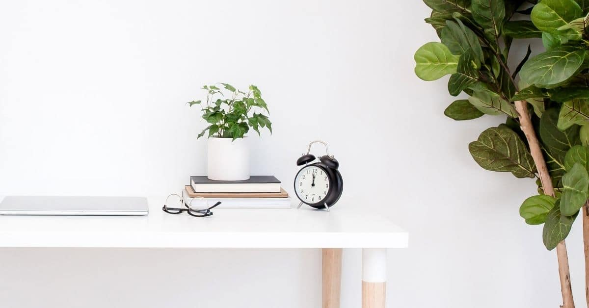 Decorative image for blog post on What to expect from a Liss Legal Strategy Session. The image depicts a desktop with glasses plants and clock